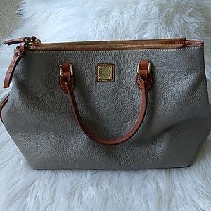 D&B Gray Pebble Leather Zip Top Purse